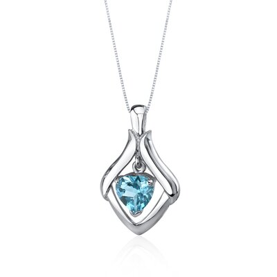 Oravo Exuberant Love 3.00 Carats Heart Shape Swiss Blue Topaz Pendant in Sterling Silve