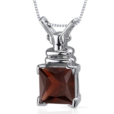 Boldly Regal 2.75 Carats Princess Cut Garnet Pendant in Sterling Silve