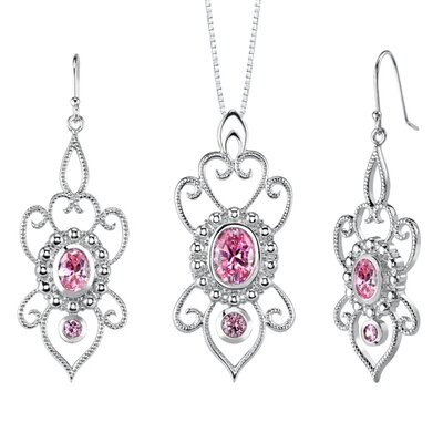Oravo Oval and Round Shape Pink Cubic Zirconia Pendant Earrings Set in Sterling Silver