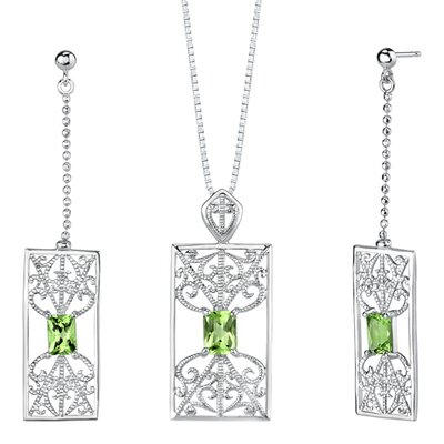 "Oravo 2.5"" 3.50 carats Radiant Cut Peridot Pendant Earrings Set in Sterling Silver"