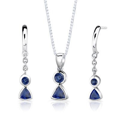 "Oravo Sterling Silver 1.13"" Multishape Sapphire Pendant Earrings and 18"" Necklace Set"