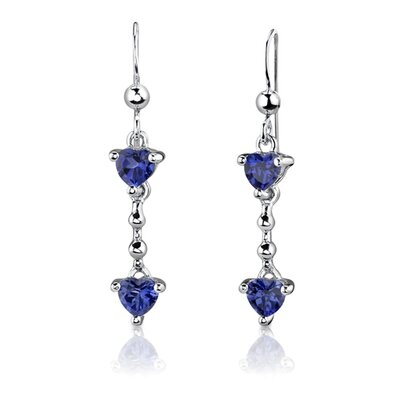 "Oravo Sterling Silver 2.25 Carats Heart Shape Sapphire Pendant Earrings and 18"" Necklace Set"