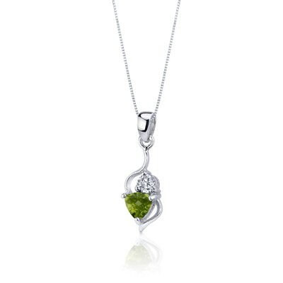 Oravo Classy 1.75 Carats Trillion Cut Sterling Silver Peridot Pendant Earrings Set