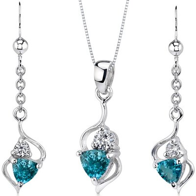 Oravo Classy 1.75 Carats Trillion Cut Sterling Silver London Blue Topaz Pendant Earrings Set