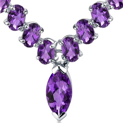 Oravo Bold and Beautiful 4.75 Carats Marquise and Oval Shape Amethyst Multi-Gemstone Necklace in Sterling Silver