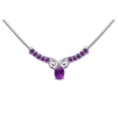 Oravo Chic 2.50 carats Oval and Round Shape Amethyst Multi-Gemstone Necklace in Sterling Silver