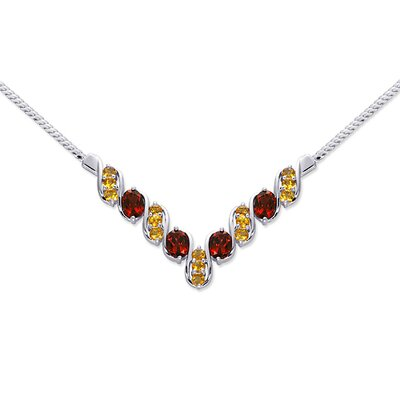 Oravo Trendy 5.50 carats Oval and Round Shape Multi-Gemstone Necklace in Sterling Silver