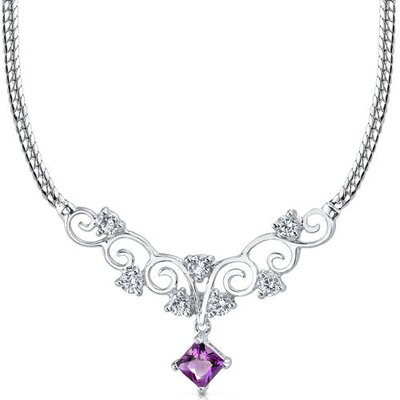 Oravo 0.50 carats Princess Cut Amethyst and White CZ Gemstone Necklace in Sterling Silver