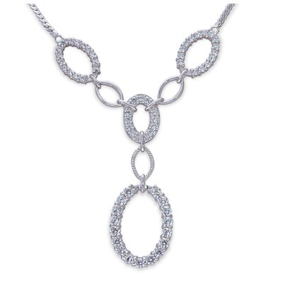 Oravo European Style Round Shape White CZ Gemstone Pendant Necklace in Sterling Silver