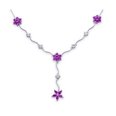 Oravo Classic Beauty 2.75 Carats Marquise and Round Shape Amethyst and White CZ Gemstone Necklace in Sterling Silver