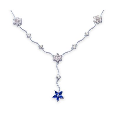 Oravo Classic Beauty Marquise and Round Shape 3.75 Carats Created Sapphire and White CZ Pendant Necklace in Sterling Silver