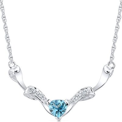 Oravo Elegant 1.50 Carats Trillion Cut Swiss Blue Topaz and White CZ Gemstone Necklace in Sterling Silver