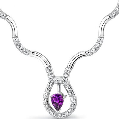 Oravo Stunningly Beautiful 0.50 carat Pear Shape Amethyst and White CZ Gemstone Necklace in Sterling Silver