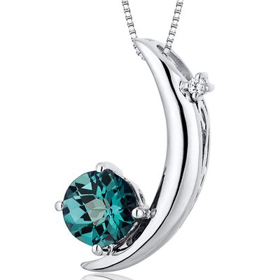 Oravo Round Checkerboard Cut Gemstone Crescent Moon  Pendant