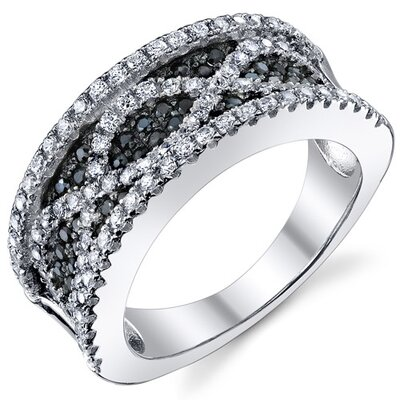 Sterling Silver Rhodium Finish CZ Classy Band Ring