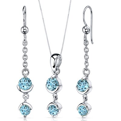 Oravo Round Cut Gemstone Simply Seductive Pendant Earrings Set