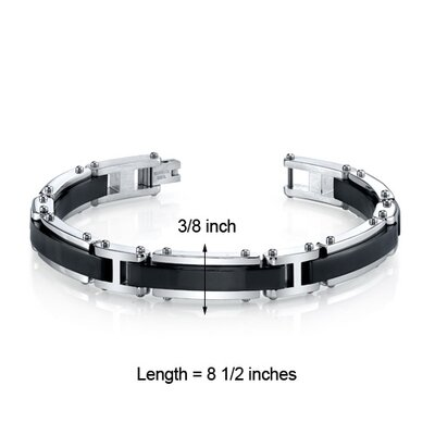 Oravo Men's Modern Center Black Stripe Polished Finish Stainless Steel Bracelet