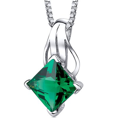 2.00 Carats Princess Checkerboard Cut Emerald Pendant with 18