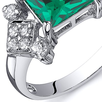 Oravo 1.50 Carats Princess Cut Emerald Ring
