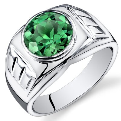 Men's Sterling Silver Round Cut Gemstone Ring