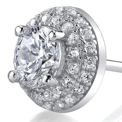 Oravo Round Cut Cubic Zirconia Stud Earrings