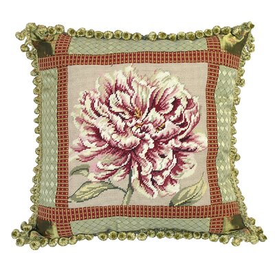 123 Creations Peony Needlepoint Pillow with Fabric Trimmed