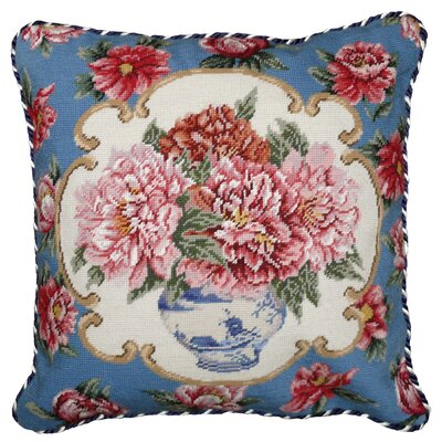 123 Creations Peony 100% Wool Needlepoint Pillow with Border