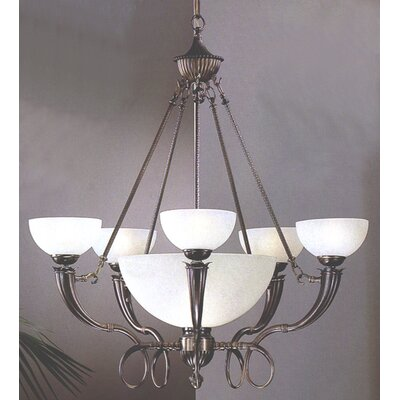French Horn 6 Light Chandelier
