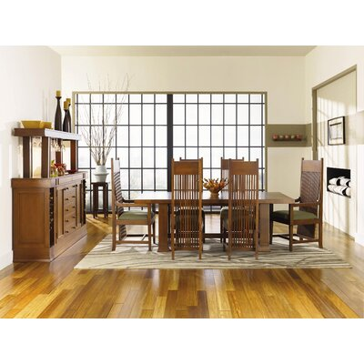 "Copeland Furniture Frank Llloyd Wright Dana-Thomas 84 - 124"" W x 48"" D Grand Extension 7 Piece Dining Set"
