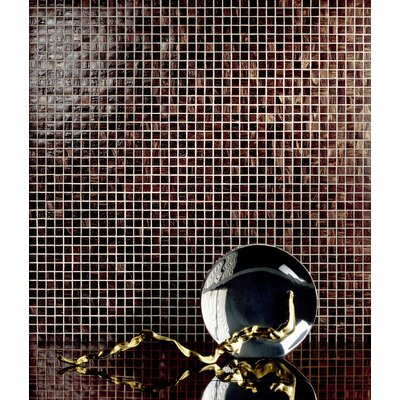 "Casa Italia Monocolor 13"" x 13"" Glass Mosaic in Brunito Bronze"