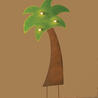 Lighted Metal Palm Tree Yardart
