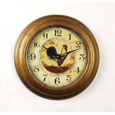 Ashton Sutton Provence Rooster Wall Clock in Gold