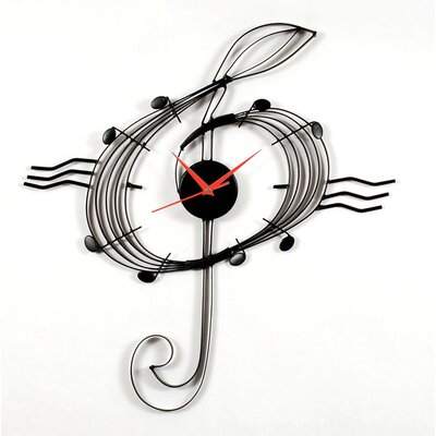 Ashton Sutton Adagio Wall Clock with Music Clef in Black Matte