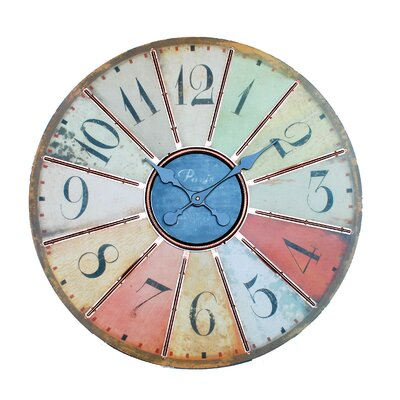 Ashton Sutton Large Wall Clock in Multicolored