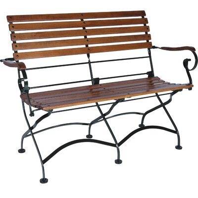 Furniture Designhouse African Teak Folding 2-Seat Bench with Arms