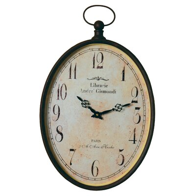 Oval Metal Pocket Watch Wall Clock