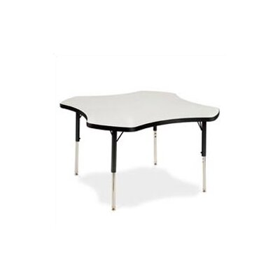 "Virco 4000 Series 48"" Clover Activity Table with Fully Chrome Short Legs"