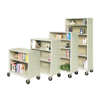 "Virco 48"" H Mobile Three Shelf Bookcase"