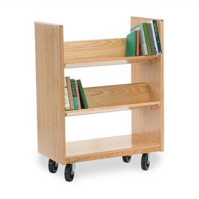 Virco Library Book Cart with 4 Sloping Shelves