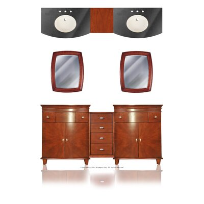"Westport Bay Jasmine 76"" Double Basin Vanity with 15"" Center Drawer Unit"