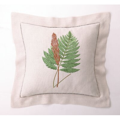 D.L. Rhein Fern Leaves IV Down Filled Embroidered Linen Pillow