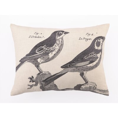 D.L. Rhein French Birds II Down Filled Embroidered Linen Pillow
