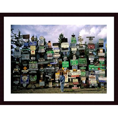 Sign Post Forest Wood Framed Art Print