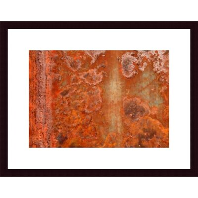 Barewalls Orange Rust Abstract Wood Framed Art Print