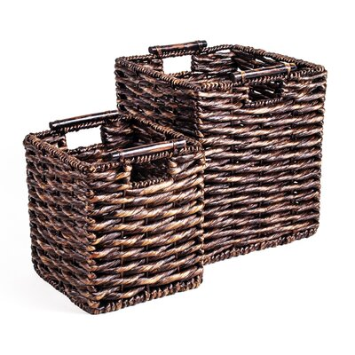 Patina Square Water Hyacinth Basket (Set of 2)
