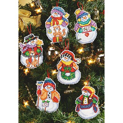 Janlynn Snow Folks Christmas Ornaments Cross Stitch (Set of 6)