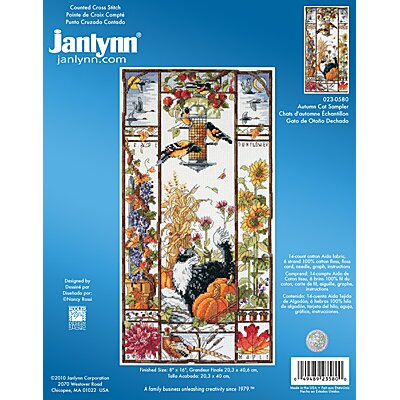 Janlynn Autumn Cat Sampler Counted Cross Stitch