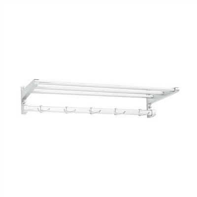 Peter Pepper Aluminum Hat and Coat Rack with Shelf and 5 Hooks