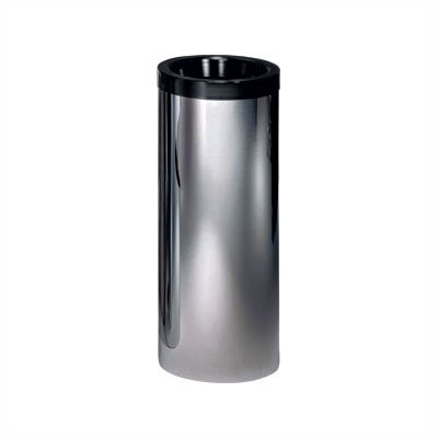 "Peter Pepper Metal Cylindrical 24-28"" H Trash Receptacle with Black Top Ring and Optional Trash Bucket"