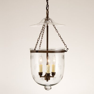 3 Light Small Bell Jar Foyer Pendant with Star Glass
